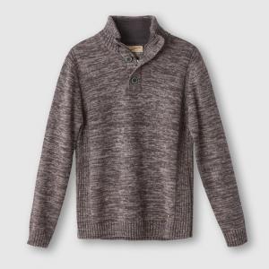 Пуловер с высоким воротником, 100% хлопка PETROL INDUSTRIES. Цвет: бежевый,каштановый меланж