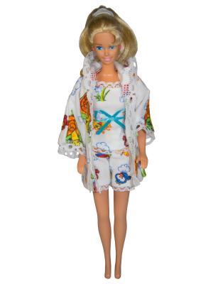 Одежда для сна куклы 29 см: халат, кофточка и шортики Модница.. Цвет: белый