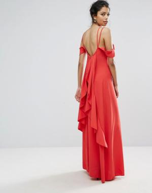 Boohoo Платье макси с оборками на спине. Цвет: красный
