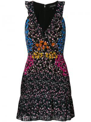Платье с цветочным принтом Saloni. Цвет: чёрный