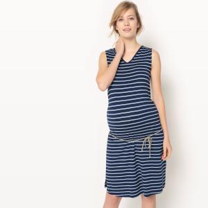 Платье в полоску для периода беременности La Redoute Collections. Цвет: в полоску