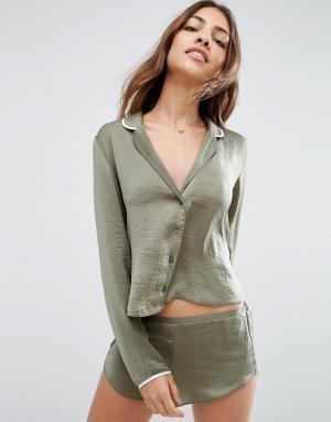 ASOS Пижама с топом и шортами Miley. Цвет: зеленый