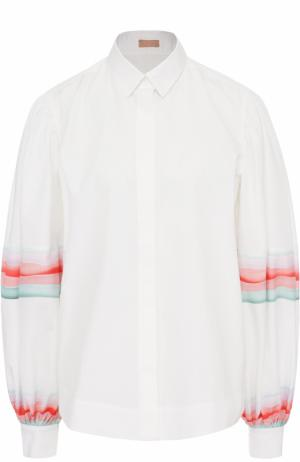 Блуза с широкими рукавами и ярким принтом Alaia. Цвет: белый