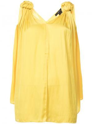 Блузка с узлами на плечах Smythe. Цвет: жёлтый и оранжевый