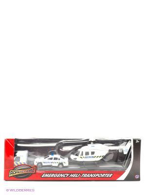 Игровой набор Перевозчик с машиной и вертолетом, белые HTI. Цвет: белый