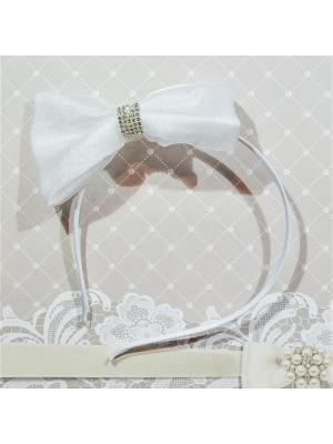 Ободок Бант Bizon. Цвет: белый