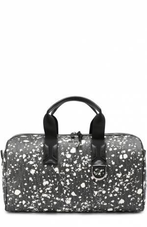 Спортивная сумка с принтом Speckle и отделкой из натуральной кожи Dior. Цвет: черно-белый