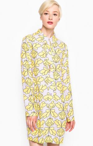 Платье POIS. Цвет: желтый, сиреневый, цветочный принт