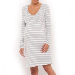 Ночная рубашка для периода беременности и кормления грудью La Redoute Collections. Цвет: серый/белый в полоску