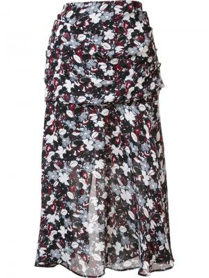 Юбка с цветочным принтом Veronica Beard. Цвет: чёрный
