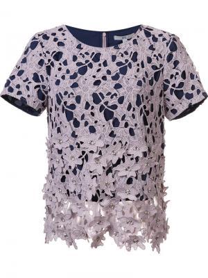 Декорированная блузка Waldorf Zac Posen. Цвет: розовый и фиолетовый