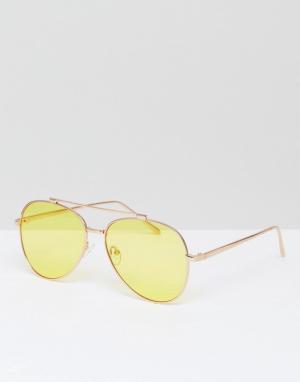 Skinnydip Солнцезащитные очки-авиаторы с желтыми стеклами. Цвет: желтый