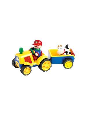 Игрушка Трактор с прицепом Tolo. Цвет: желтый