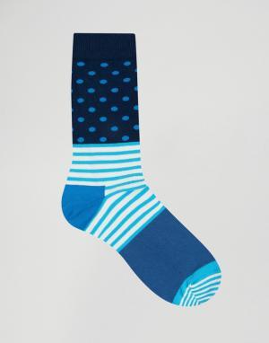 Happy Socks Носки в полоску и горошек. Цвет: синий