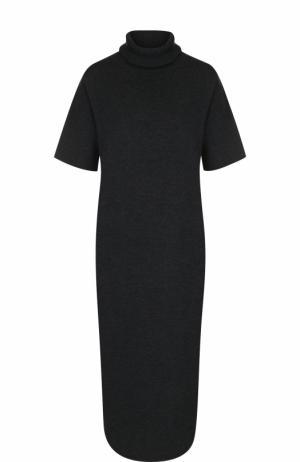 Шерстяное платье с коротким рукавом и высоким воротником Allude. Цвет: темно-серый