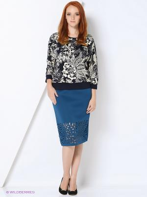 Блузка СТиКО. Цвет: темно-синий, кремовый