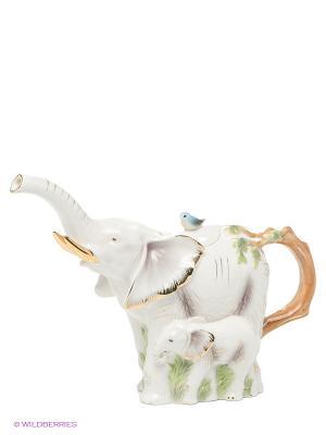 Заварочный чайник Слоны (Pavone) Pavone. Цвет: бежевый, золотистый, зеленый