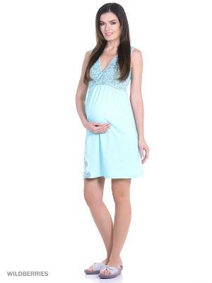 Комплект женский для беременных и кормящих (халат+сорочка) Hunny Mammy. Цвет: бирюзовый, серый