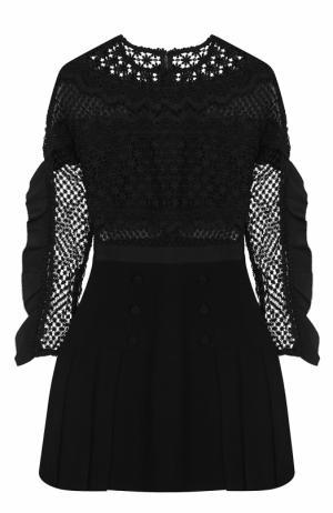 Приталенное мини-платье с кружевным лифом self-portrait. Цвет: черный