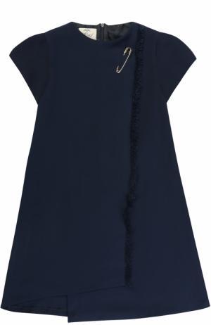 Мини-платье ассиметричного кроя с бахромой и булавкой Caf. Цвет: темно-синий