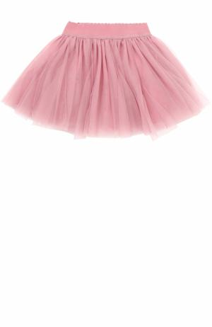 Многослойная мини-юбка с эластичным поясом Monnalisa. Цвет: розовый