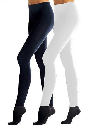 Трикотажные леггинсы, Lavana (2 шт.). Цвет: телесный + чёрный