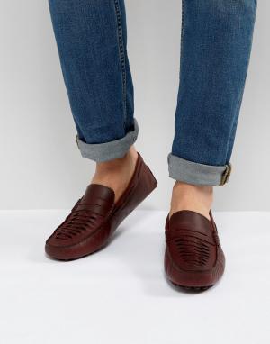 ASOS Бордовые кожаные мокасины с плетением. Цвет: красный
