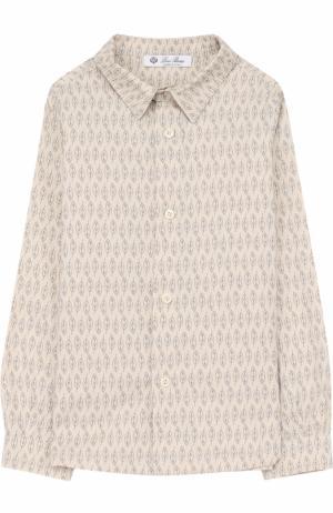 Хлопковая рубашка с принтом Loro Piana. Цвет: серый