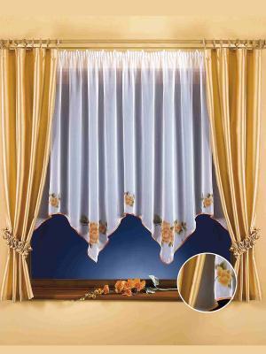 Комплект штор Эмма Wisan. Цвет: бежевый, белый