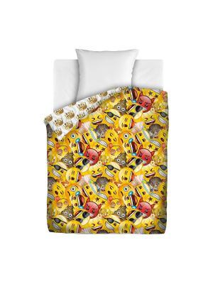 Покрывало стеганое Emoji Эмоджи Смайлы, 145х200 Непоседа. Цвет: желтый