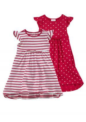 Платье, 2 штуки KIDOKI. Цвет: красный