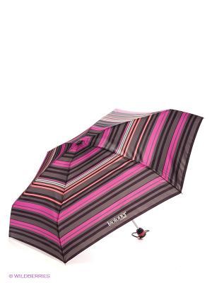 Зонт Isotoner. Цвет: малиновый, оранжевый, белый, темно-серый