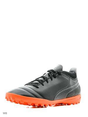 Бутсы PUMA ONE 17.4 TT. Цвет: черный, коралловый