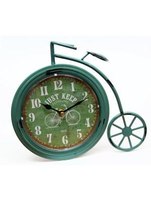 Часы Ретро Велосипед настольные кварцевые  26x5x23,5 Magic Home. Цвет: зеленый