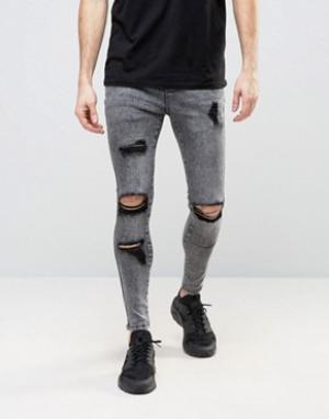 SikSilk Суперзауженные джинсы с рваной отделкой. Цвет: серый