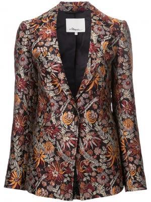 Пиджак с цветочным принтом 3.1 Phillip Lim. Цвет: коричневый