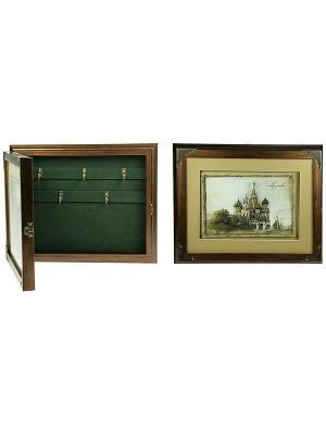 Коллаж-ключница 3D Храм Василия Блаженного Русские подарки. Цвет: коричневый