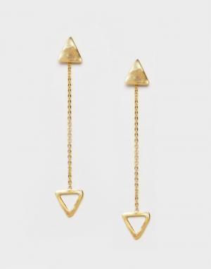 Ottoman Hands Серьги-подвески с треугольниками. Цвет: золотой