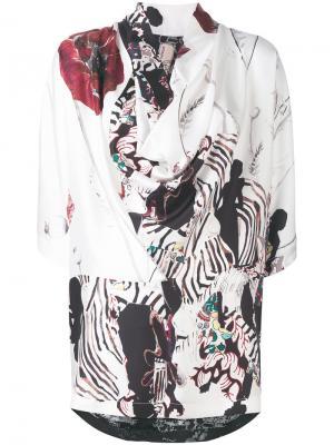 Асимметричная блузка с комбинированным принтом Antonio Marras. Цвет: многоцветный