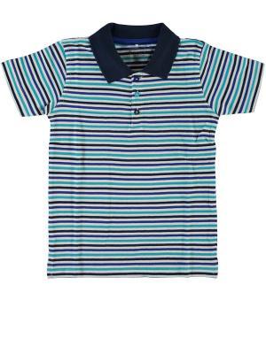 Футболка-поло NAME IT. Цвет: синий, бирюзовый, коричневый, белый