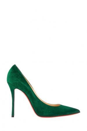 Замшевые туфли Decoltish 100 Christian Louboutin. Цвет: зеленый