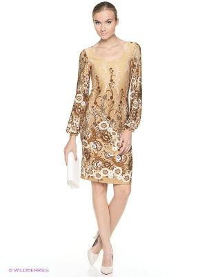 Платье ADZHEDO. Цвет: коричневый, бежевый