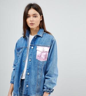 Chorus Tall Джинсовая куртка oversize с карманами металлик. Цвет: синий