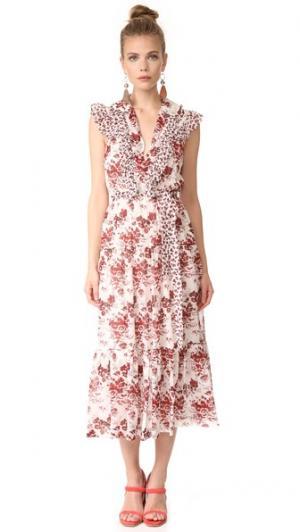 Длинное многоуровневое платье без рукавов Robert Rodriguez. Цвет: кость