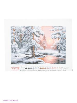 Рисунок на канве Морозная сказка Матренин Посад. Цвет: серый, белый, розовый