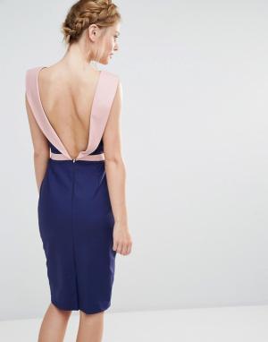 Paper Dolls Платье миди с отделкой в стиле смокинга сзади. Цвет: темно-синий
