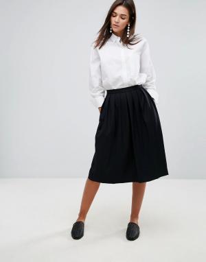 YMC Плиссированная юбка миди с добавлением шерсти. Цвет: черный