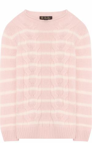 Пуловер фактурной вязки в полоску Loro Piana. Цвет: розовый