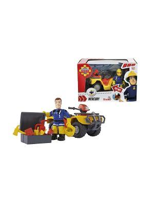 Пожарный Сэм, фигурка+квадроцикл со светом, 12/12 Simba. Цвет: желтый, красный, черный