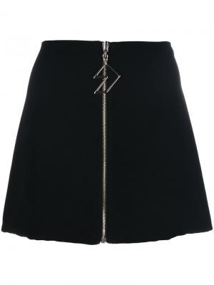 Мини юбка на молнии спереди Versus. Цвет: чёрный